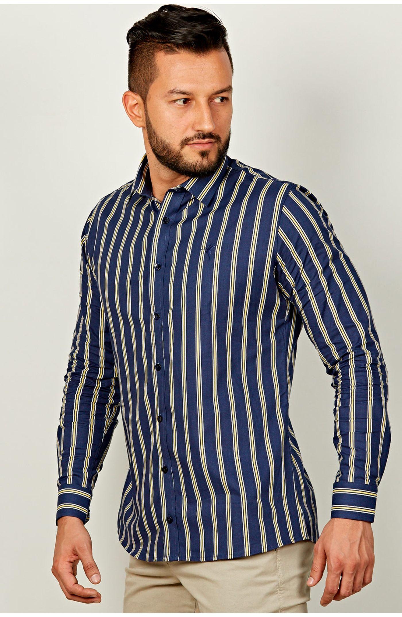 4743701e34 Camisa manga larga slim fit estampado rayas CMSH083-4406 - Ropa Kalendar